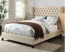 20650 upholstered bed in beige fabric by acme
