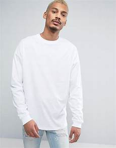 oversized sleeve tshirt asos oversized sleeve t shirt with cuff in white for