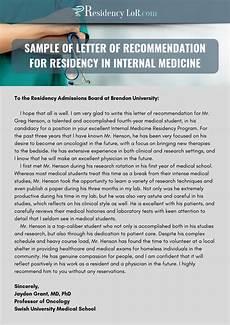 Letter Of Recommendation For Residency Sample Letter Of Recommendation For Internal Medicine