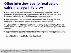 Real Estate Interview Questions Real Estate Sales Manager Interview Questions And Answers