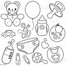baby accessories vector black and white coloring book page