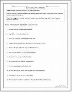 Punctuation Of Titles Punctuating Titles Of Works Worksheet