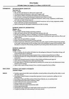 Escrow Officer Resume Escrow Assistant Resume Samples Velvet Jobs