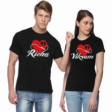 Couple T Shirt Love Design Couple Love With Your Names Custom Printed T Shirts