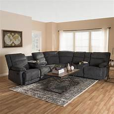 Gray Reclining Sectional Sofa 3d Image by Baxton Studio Sabella 7 Grey Fabric Reclining