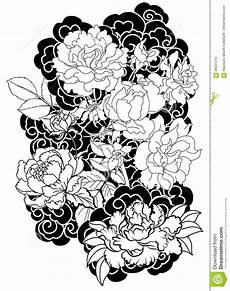 Japanese Rose Designs Peony Flower And Rose On Cloud And Wave Background