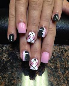 Black White And Pink Nail Designs 55 Incredible Plaid Print Nail Design Ideas For Girls