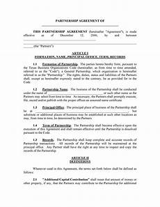 Simple Partnership Agreement 40 Free Partnership Agreement Templates Business General