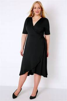 black wrap dress with sleeves plus size 16 to 32