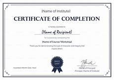 Certificate Of Successful Completion Formal Completion Certificate Design Template In Psd Word
