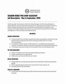 Job Description For Shop Assistant Shadow Ridge Golf Course Pro Shop Job Application By