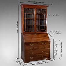 antique bureau bookcase display cabinet mahogany