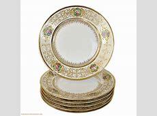 Antique Limoges Hand Painted Rose Gold Encrusted Plate Set