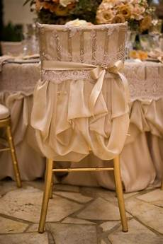gold wedding chair cover looks like a little dress for
