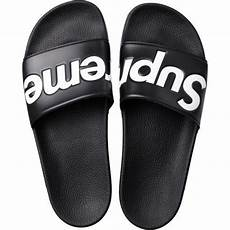 supreme clothing shoes black supreme slides high quality rubber and the iconic