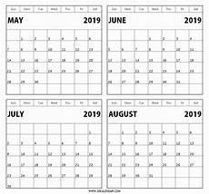 Calendar Template 3 Months Per Page Calendar May June July 2019 Template Calendar Design