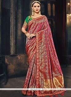 buy banarasi silk patch border work traditional designer