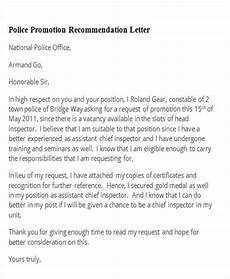Letter Of Recommendation For Police Officer Free 11 Sample Promotion Recommendation Letter Templates