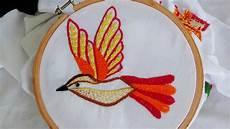 embroidery bird embroidery fly stitch stem stitch