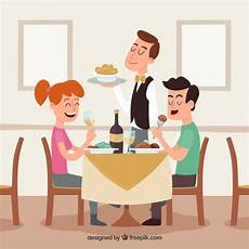 Pareja Y Camarero Sonrientes En El Restaurante Descargar