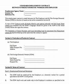 Standard Contract Template Employment Contract Template 9 Free Sample Example