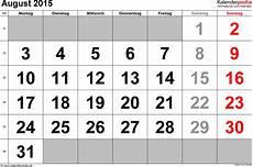 Calendar 2015 August Kalender August 2015 Als Excel Vorlagen