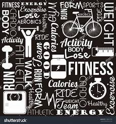 Words Related To Fitness Fitness Words Over Black Background Vector Illustration