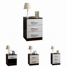 hulio 1 2 3 drawer bedside chest cabinet high gloss wood