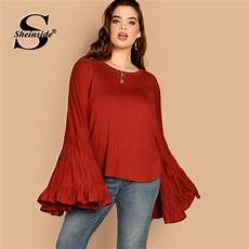womens bell sleeve tops and blouses sheinside rust plus size exaggerate bell sleeve blouse