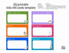 Credit Card Template For Kids Diy Printable Kids Info Cards Template