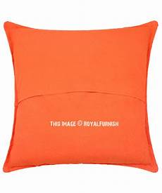 24 quot orange big size indian mirror decorative sofa pillow