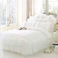 luxury white princess lace bedding set king