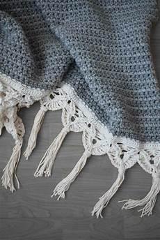 crochet macram 233 edged blanket crochet pattern by midknits