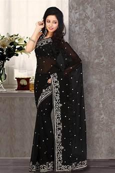 Black Georgette Designer Saree Black Faux Georgette Saree 16965 With Unstitched Blouse
