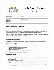 Head Cook Job Description Cook Job Description For Child Care Center Templates At