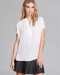white silk sleeve blouse vince blouse cap sleeve silk in white lyst