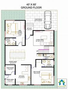 floor plan for 40 x 60 plot 4 bhk 2400 square