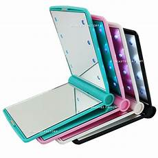Hand Mirror With Lights Bf 8 Led Light Emitting Double Sided Compact Handheld Hand