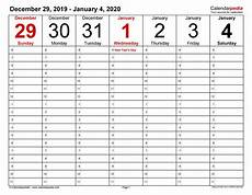 Printable Agenda Calendar 2020 Weekly Calendars 2020 For Excel 12 Free Printable Templates