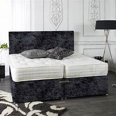 zip and link divan bed set in crushed velvet ortho