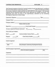 Contractor Bid Template Free Contractor Proposal Template 15 Free Word Pdf Document