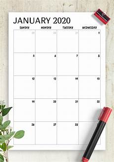 Monthly 2020 Calendar Printable Download Printable Minimal Monthly Calendar Pdf