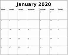 2020 Jan Calendar January 2020 Printable Calendar Free