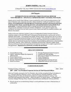 Chief Financial Officer Resumes A Resume Template For A Chief Financial Officer You Can