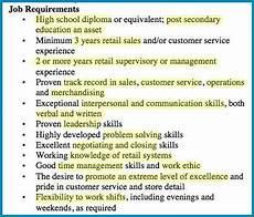 Customer Service Requirements Sample Retail Manager Job Ad Living Skills
