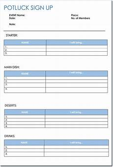 Pot Luck Sign Up Signup Sheet Templates 40 Sheets 15 Types Word Amp Excel