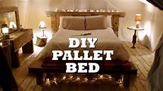 How To Make A Pallet Bed Frame With Lights How To Build A Rustic Pallet Bed Amp Headboard Youtube