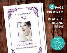 Printable Funeral Programs Printable Funeral Program Template Celebration Of Life