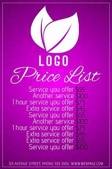Pricelist Template Beauty Copy Of Simple Beauty Salon Price List Purple Pink