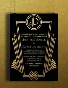 1920s Invitation Template Free Instant Download Black Gold Art Deco Great Gatsby Vintage